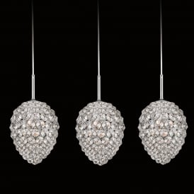 Olivio 3 Light Bar Ceiling Pendant in Polished Chrome and Crystal Finish
