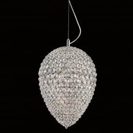 Olivio 4 LED Dimmable Small Ceiling Pendant in Polished Chrome and Crystal Finish