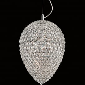 Olivio 6 LED Dimmable Medium Ceiling Pendant in Polished Chrome and Crystal Finish