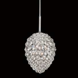 Olivio Single Light Ceiling Pendant in Polished Chrome and Crystal Finish