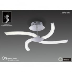 On 4 Light LED Semi Ceiling Fitting in Polished Chrome Finish and White Acrylic
