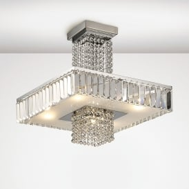 Ophelia 5 Light Semi Flush Ceiling Fitting In Polished Chrome And Crystal Finish
