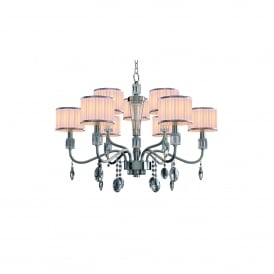 Ophelia 9 Light Ceiling Pendant In Polsihed Chrome And Clear Acrylic Finish With Pleated Shades
