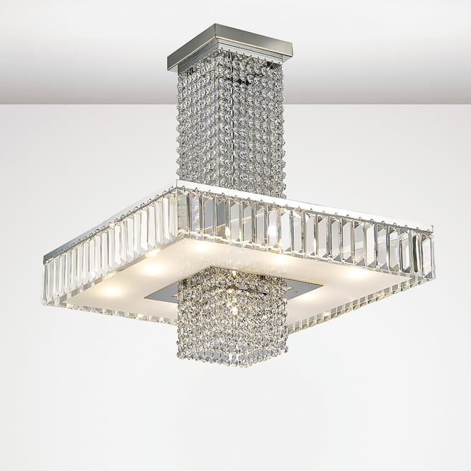 Diyas Ophelia 9 Light Semi Flush Ceiling Fitting In Polished Chrome And Crystal Finish