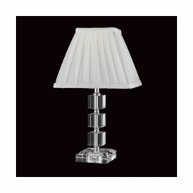 Optical Crystal Table Lamp With Cream Shade