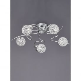Oracle 5 Light Ceiling Fitting In Polished Chrome And Crystal Finish