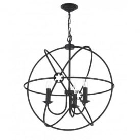 Orb 3 Light Handcrafted Pendant with an Atom Design in a Black Finish