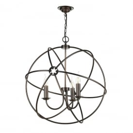 Orb 3 Light Handcrafted Pendant with Atom Design in Antique Solid Copper Finish