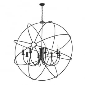Orb 8 Light Handcrafted Pendant with an Atom Design In Black Finish