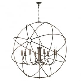 Orb 8 Light Handcrafted Pendant with Atom Design in Antique Solid Copper Finish