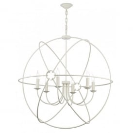 Orb Large 6 Light Handcrafted Pendant with an Atom Design in a Cream Finish