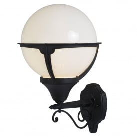 Orb Single Light Outdoor Wall Lantern In Black Finish With Round Opal Shade