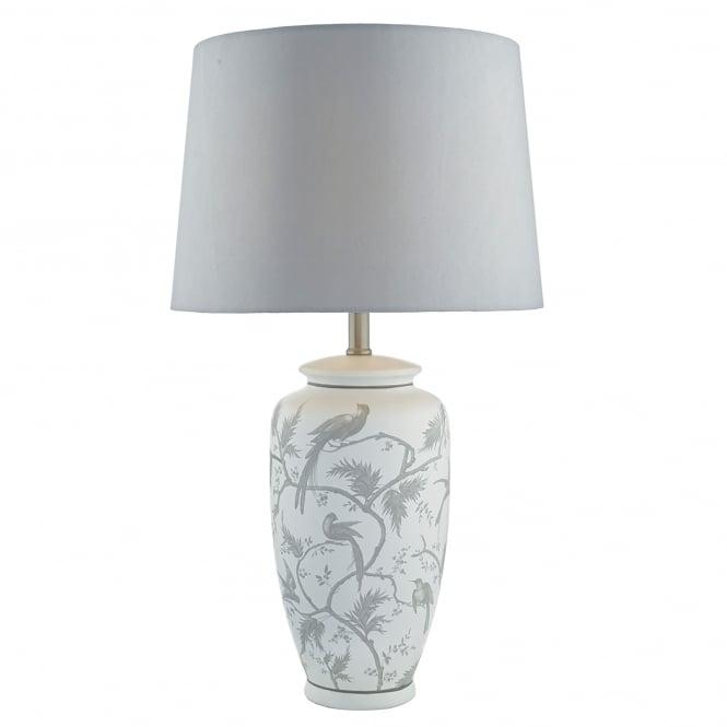 Dar Lighting Ornate Single Light Table Lamp In White And