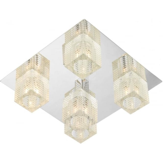 Dar Lighting Oswald 5 Light Ceiling Fitting in Polished Chrome with Cube Shades