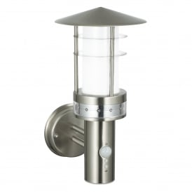 Pagoda LED Outdoor Wall Fitting in Brushed Stainless Steel Finish and Frosted Acrylic With PIR