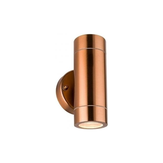 Saxby Palin 2 Light Outdoor Wall Fitting In Copper Finish With Clear Glass Lens