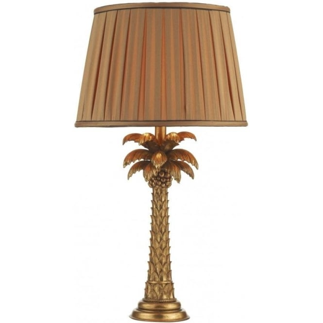 Dar Lighting Palm Single Light Hand Cast Resin Table Lamp in Gold Finish