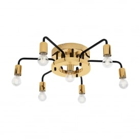 Paltas 7 Light Semi Flush Ceilng Fitting In Black And Gold Finish