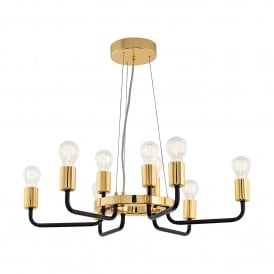 Paltas 9 Light Ceilng Pendant In Black And Gold Finish