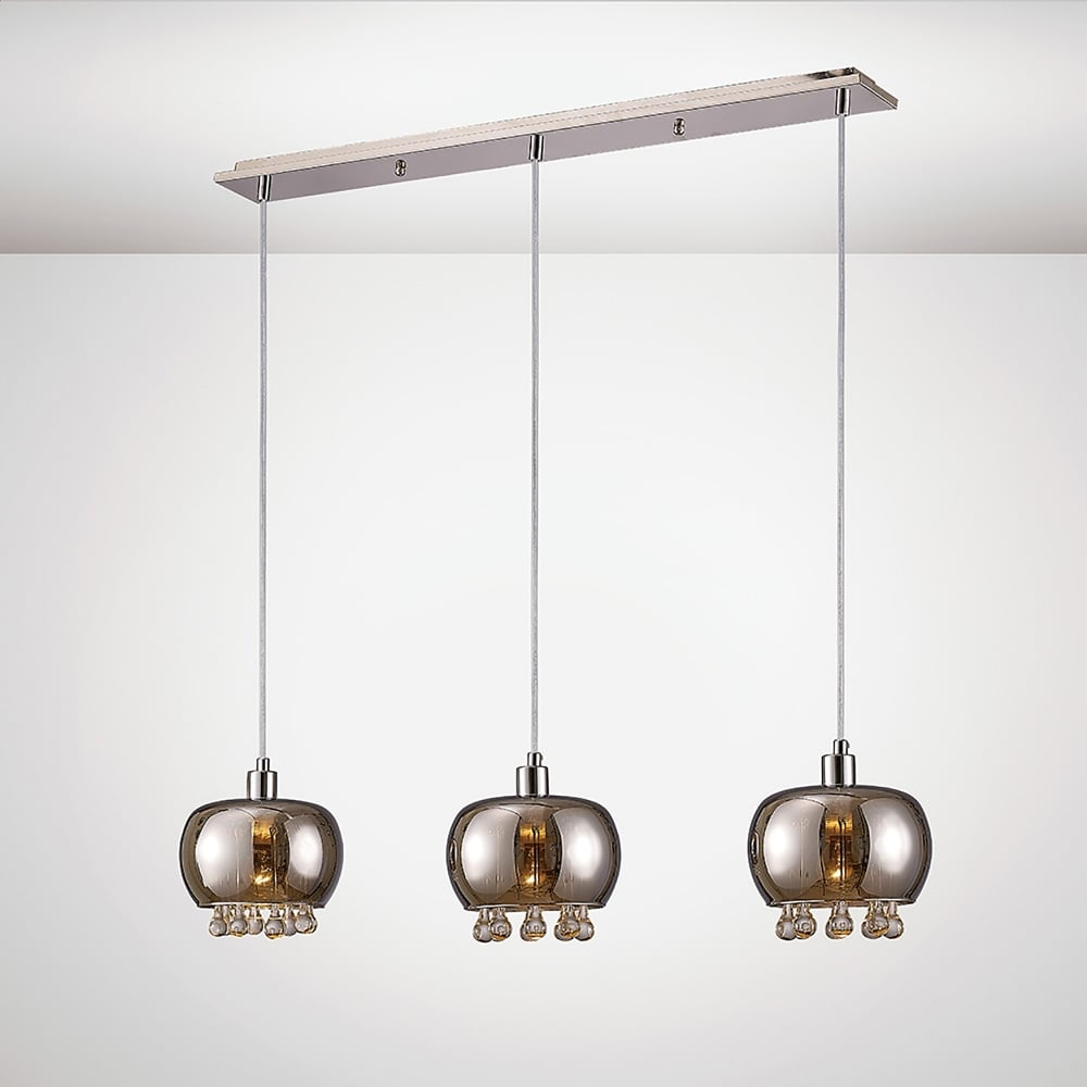 Diyas Pandora 3 Light Bar Ceiling Pendant In Black Chrome