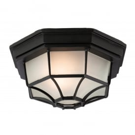 Panel Single Light Flush Ceiling Fitting Die Cast Aluminium in Black Finish with Frosted Glass