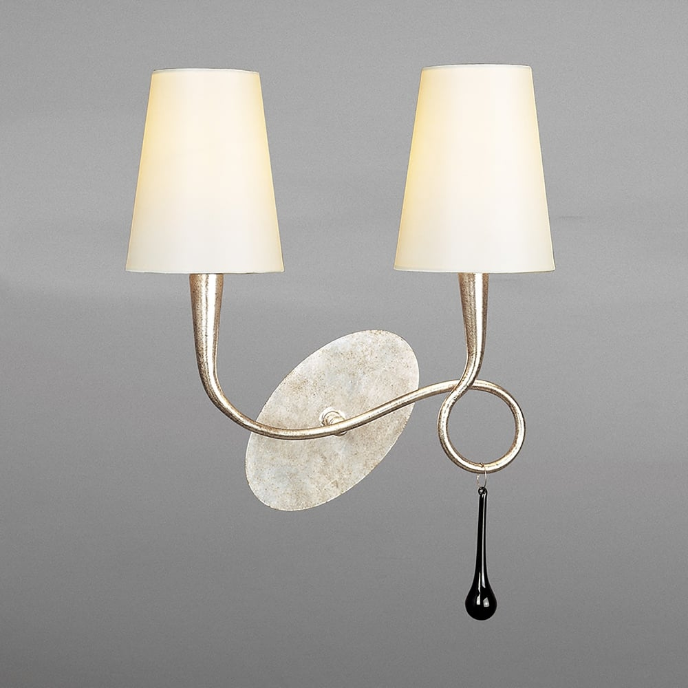 Mantra Paola Double Switched Wall Light With Silver Paint Finish and Cream Shades - Lighting ...