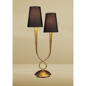 Paola Double Table Lamp With GoldFinish and Black Shades