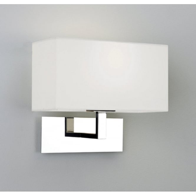 Astro Lighting Park Lane Single Light Polished Chrome Wall Fixture Complete with White Shade