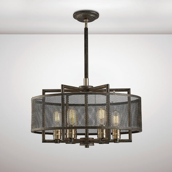 Diyas Parker 6 Light Ceiling Pendant In Weathered Zinc And Brushed Nickel Finish