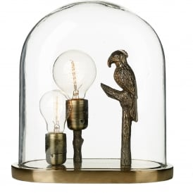 Parrot 2 Light Table Lamp in Bronze Finish with Clear Glass