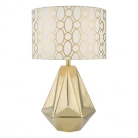Pasadena Single Light Ceramic Table Lamp in Gold Finish Complete with White and Gold Linen Shade