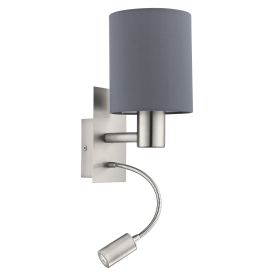 Pasteri 2 Light Wall Fitting In Satin nickel Finish With Grey Fabric Shade