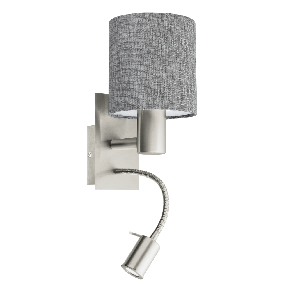 Eglo Lighting Pasteri 2 Light Wall Fitting In Satin nickel Finish With Grey Linen Fabric Shade ...