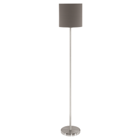 Pasteri Single Light Floor Lamp In Satin Nickel Finish With Brown Linen Shade