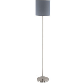 Pasteri Single Light Floor Lamp In Satin Nickel Finish With Grey Fabric Shade