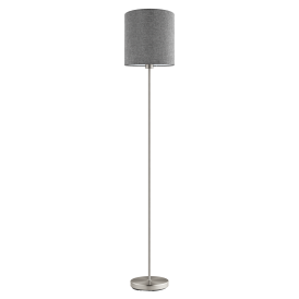 Pasteri Single Light Floor Lamp In Satin Nickel Finish With Grey Linen Fabric Shade