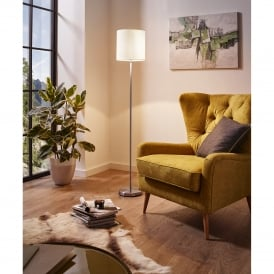 Pasteri Single Light Floor Lamp In Satin Nickel Finish With White Fabric Shade