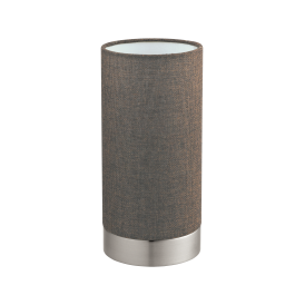Pasteri Single Light Touch Operated Table Lamp In Satin Nickel Finish With Brown Linen Shade