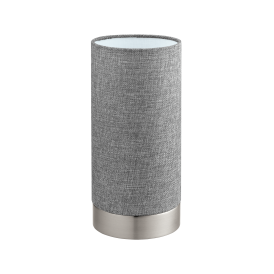 Pasteri Single Light Touch Operated Table Lamp In Satin Nickel Finish With Grey Linen Fabric Shade
