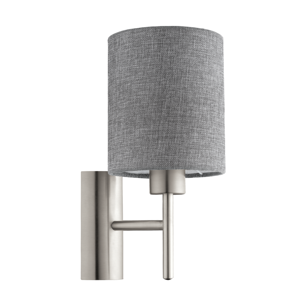 Eglo Lighting Pasteri Single Light Wall Fitting In Satin Nickel Finish With Grey Linen Fabric ...