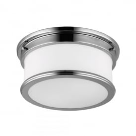 Payne 2 Light Flush Bathroom Ceiling Fitting in Polished Chrome Finish and Glass Diffuser