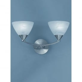 PE9672/786 Meridian 2 Light Wall Fitting in Brushed Nickel Finish With Glass Shades