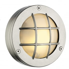 Pembroke Single LED Outdoor Wall Fitting Made From Solid Brass in Nickel Finish