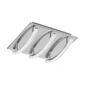 Pertini 3 Light LED Semi Flush Ceiling Fitting In Aluminium And Polished Chrome Finish