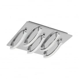 Eglo Lighting Pertini 5 Light LED Semi Flush Ceiling Fitting In Aluminium And Polished Chrome Finish
