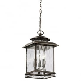 Pettiford 3 Light Large Chain Lantern in Olde Bronze Finish (Outdoor)