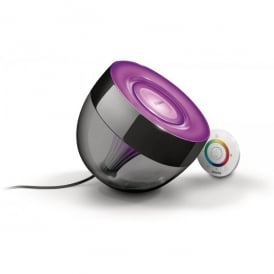 Living Colours Iris Single Light LED Table Lamp In Black Finish With Remote Control