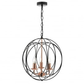 Phoenix 3 Light Ceiling Pendant in Matt Black and Copper Finish