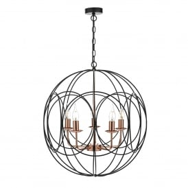 Phoenix 5 Light Ceiling Pendant in Matte Black and Copper Finish