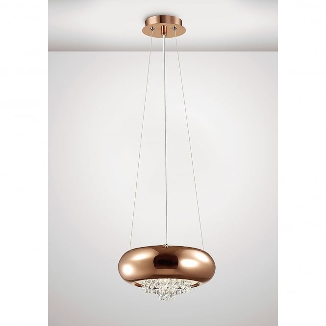 Diyas Phyllis 2 Light Small Ceiling Pendant In Copper And Crystal Finish